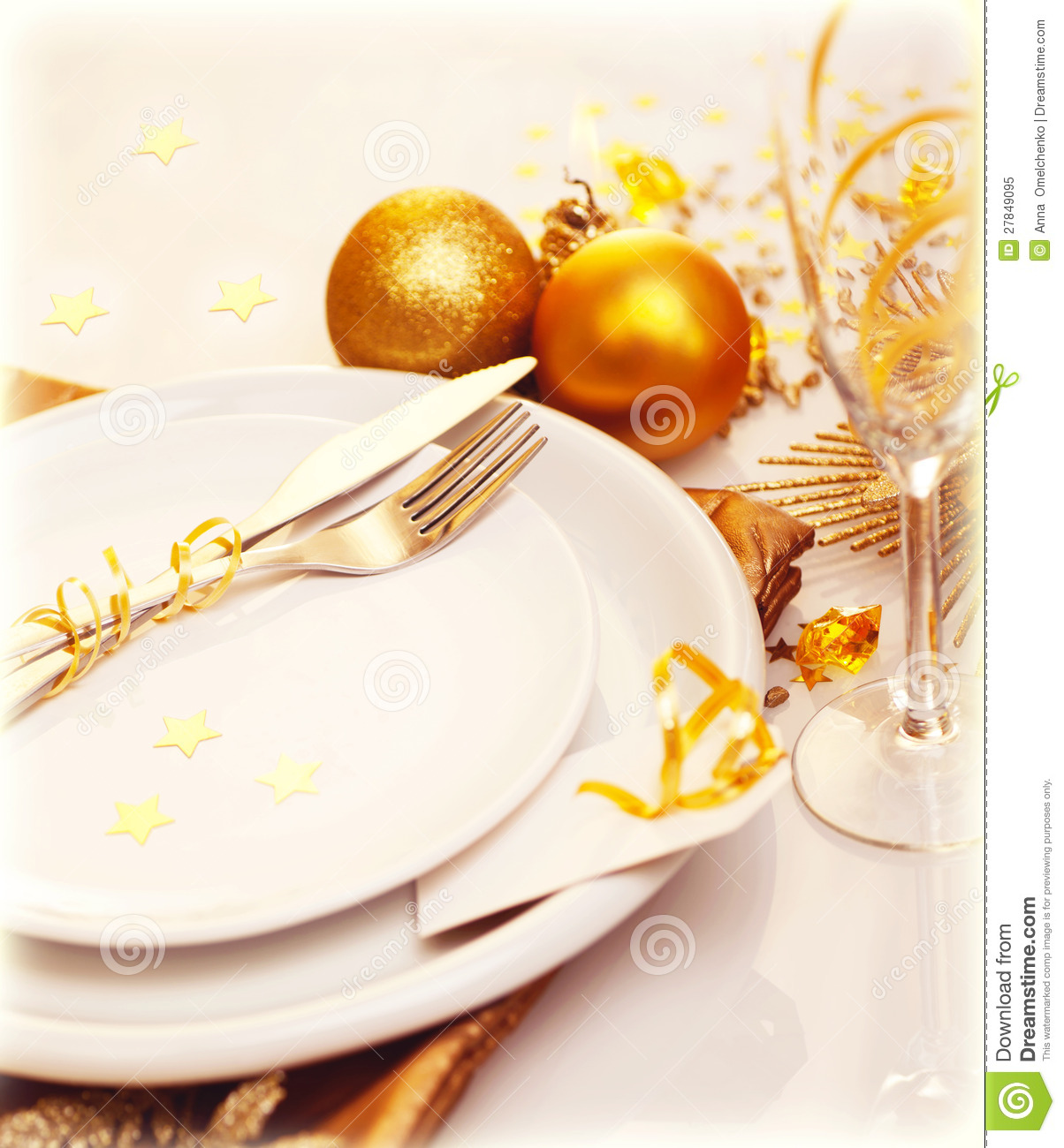 Luxury Christmas Table Decoration Royalty Free Stock Photo - Image ...
