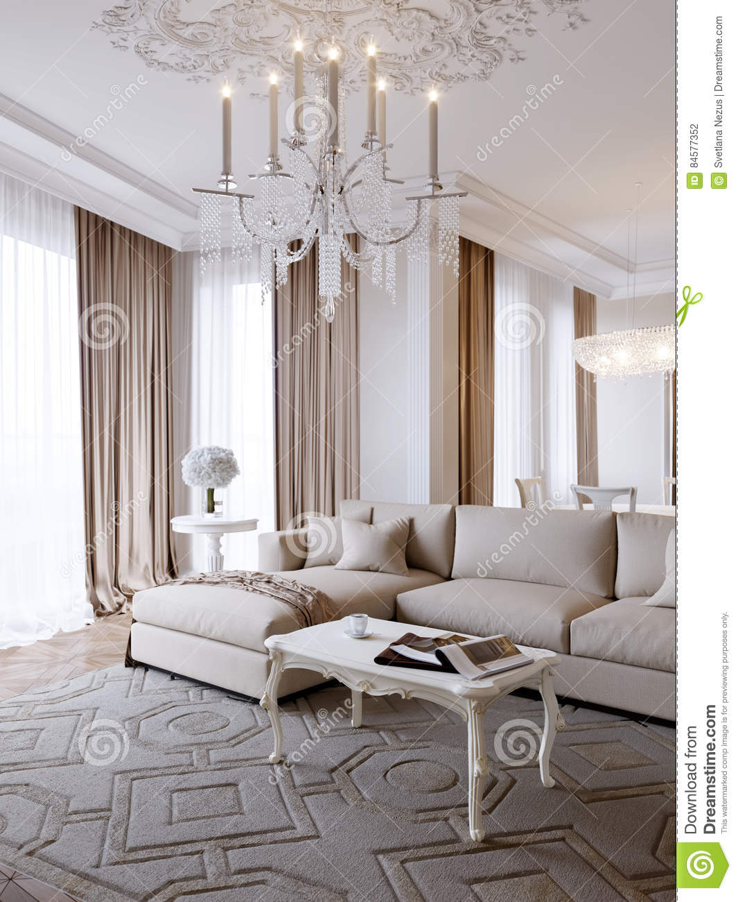 Luxury Classic Living Rooms: Luxury Classic Interior Of Dining Room And Living Room