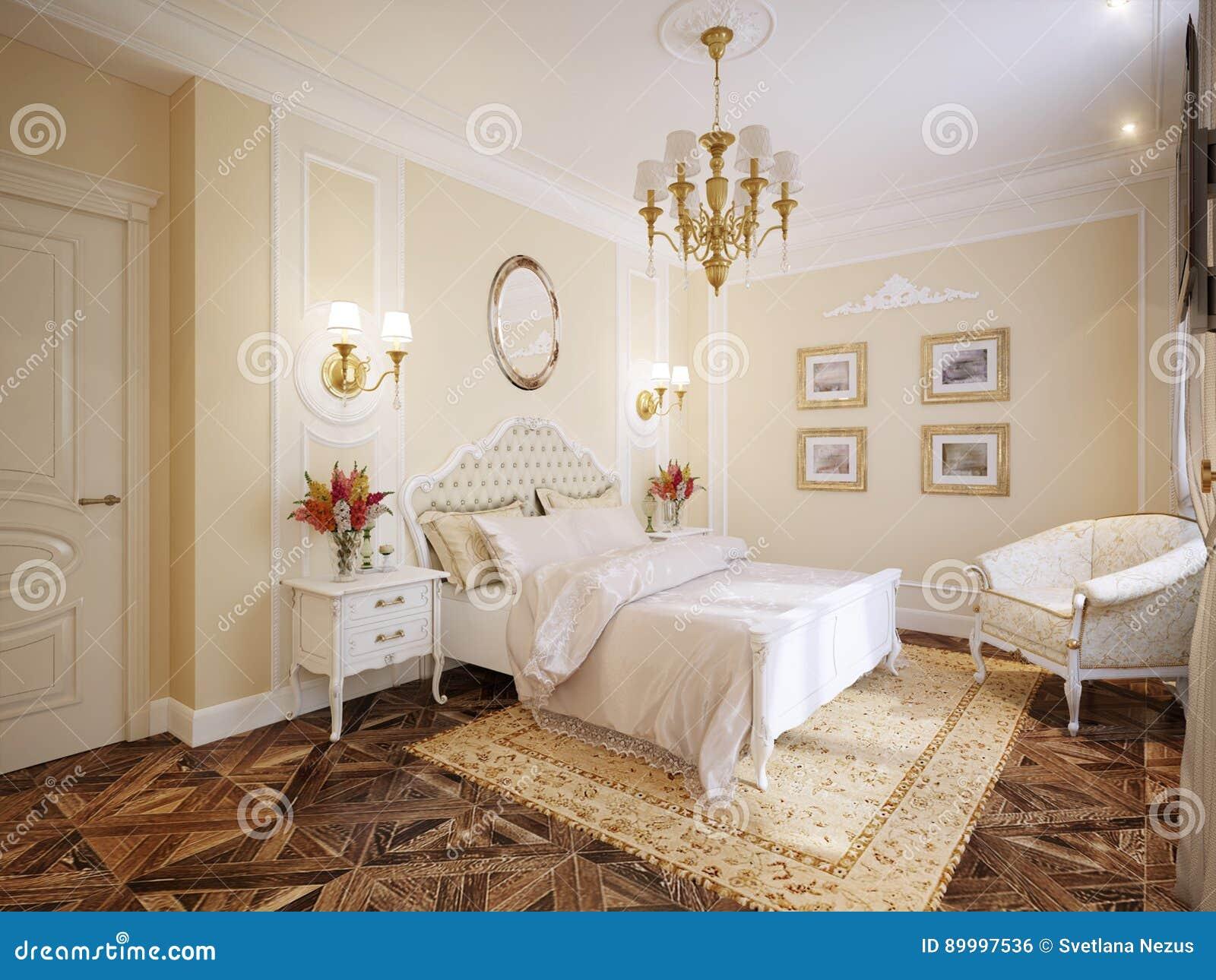 Luxury Classic Modern Bedroom Interior Design Stock Illustration ...