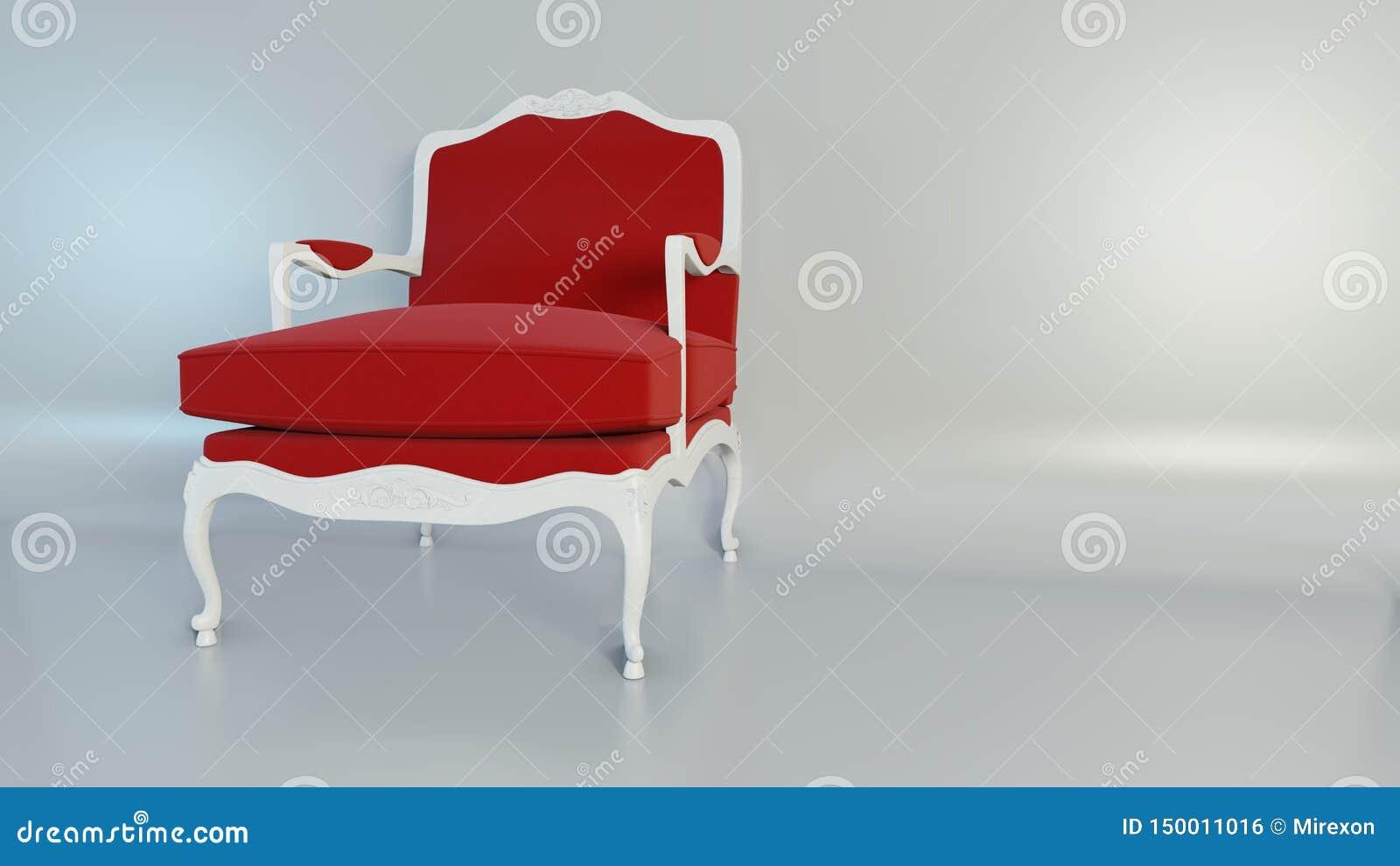 luxury classic red armchair studio pastel tone background d rendering