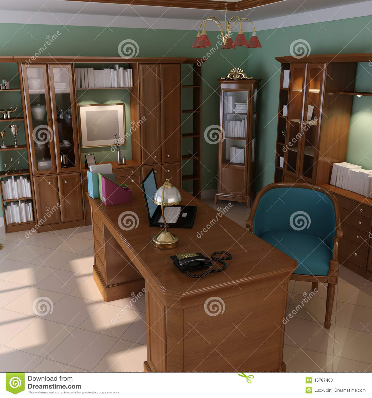 Classic Study Room Design: Luxury Classic Study Room Stock Photos