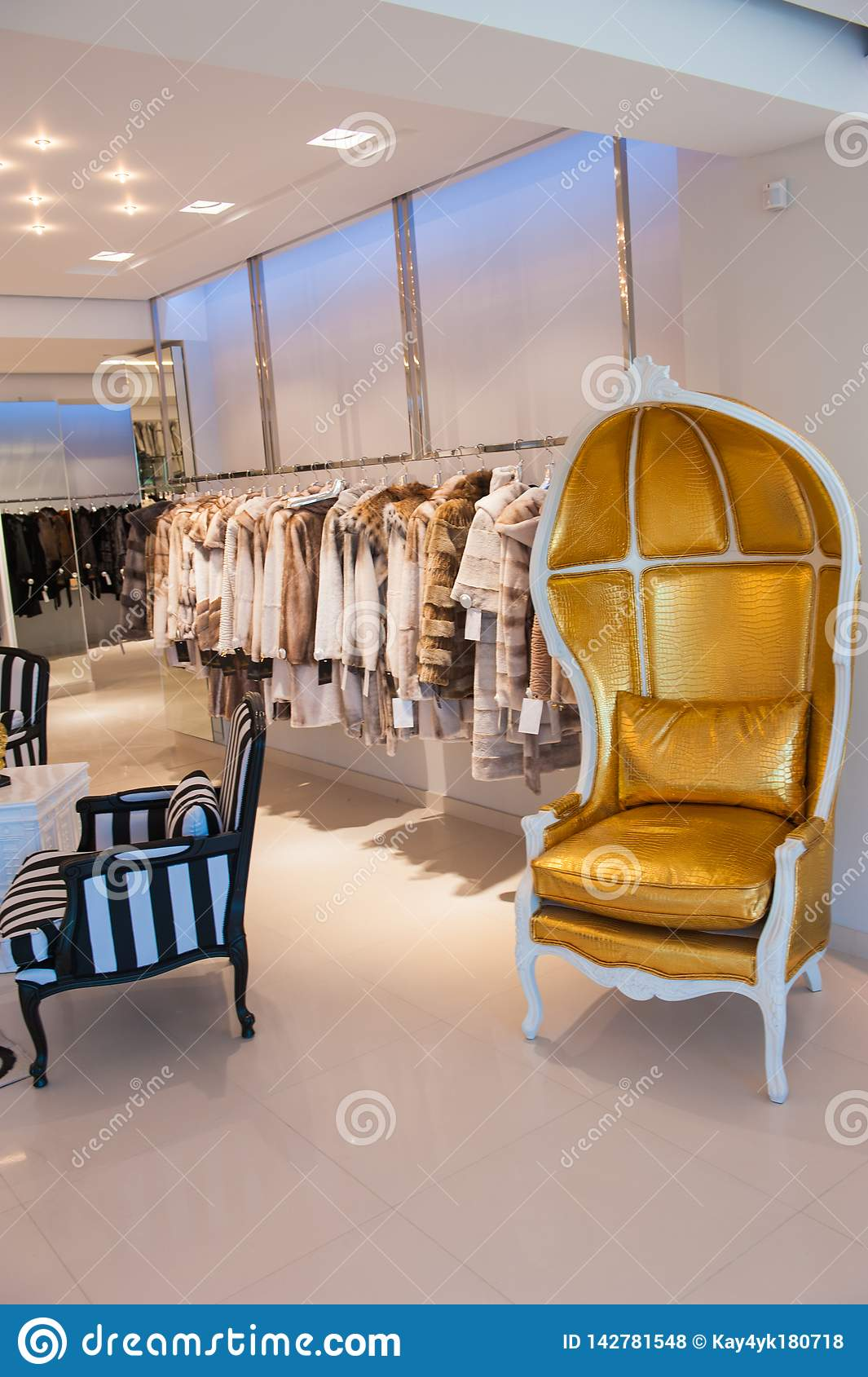 Luxury clothes and furs in a retail fashion store