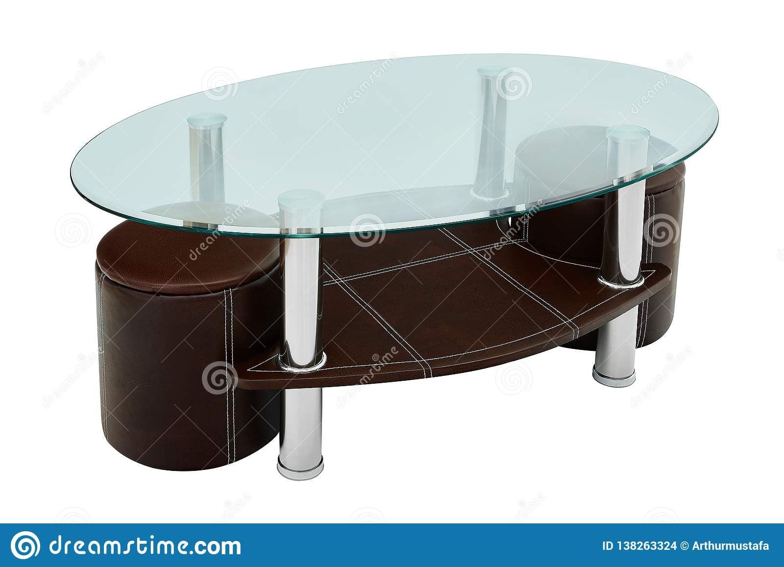 Luxury Coffee Table And Stools Round Glass And Brown Leather Coffe Table With Two Stools Isolated On White Background Clipping Stock Photo Image Of Chair Assemble 138263324