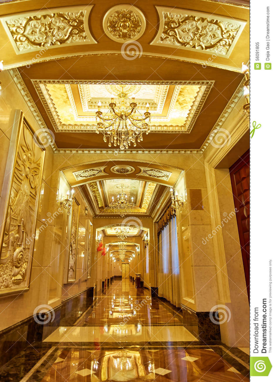 Hotel corridor hallway stock image image of inside golden 56091805 - Decoratie corridor ...