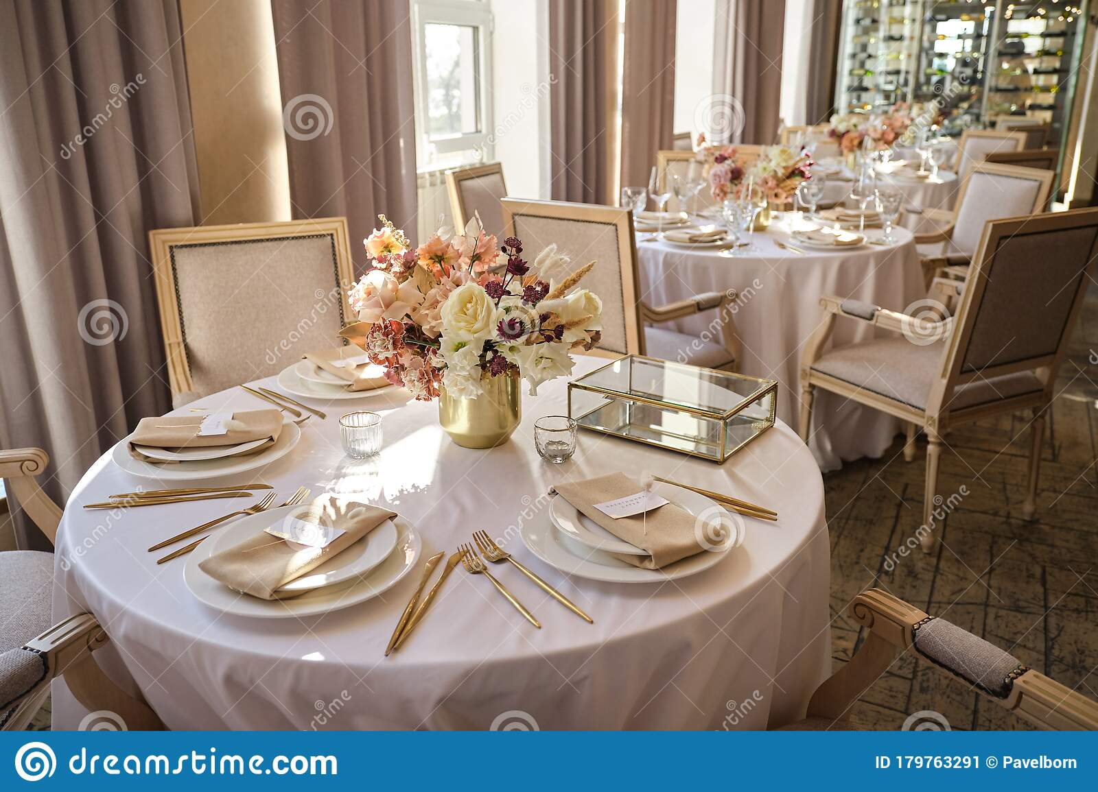 Luxury Cozy Autumn Wedding Table Decoration In The Restaurant Fresh And Dried Flowers Roses Carnations Beautiful Table Setting Stock Image Image Of Banquet Napkin 179763291
