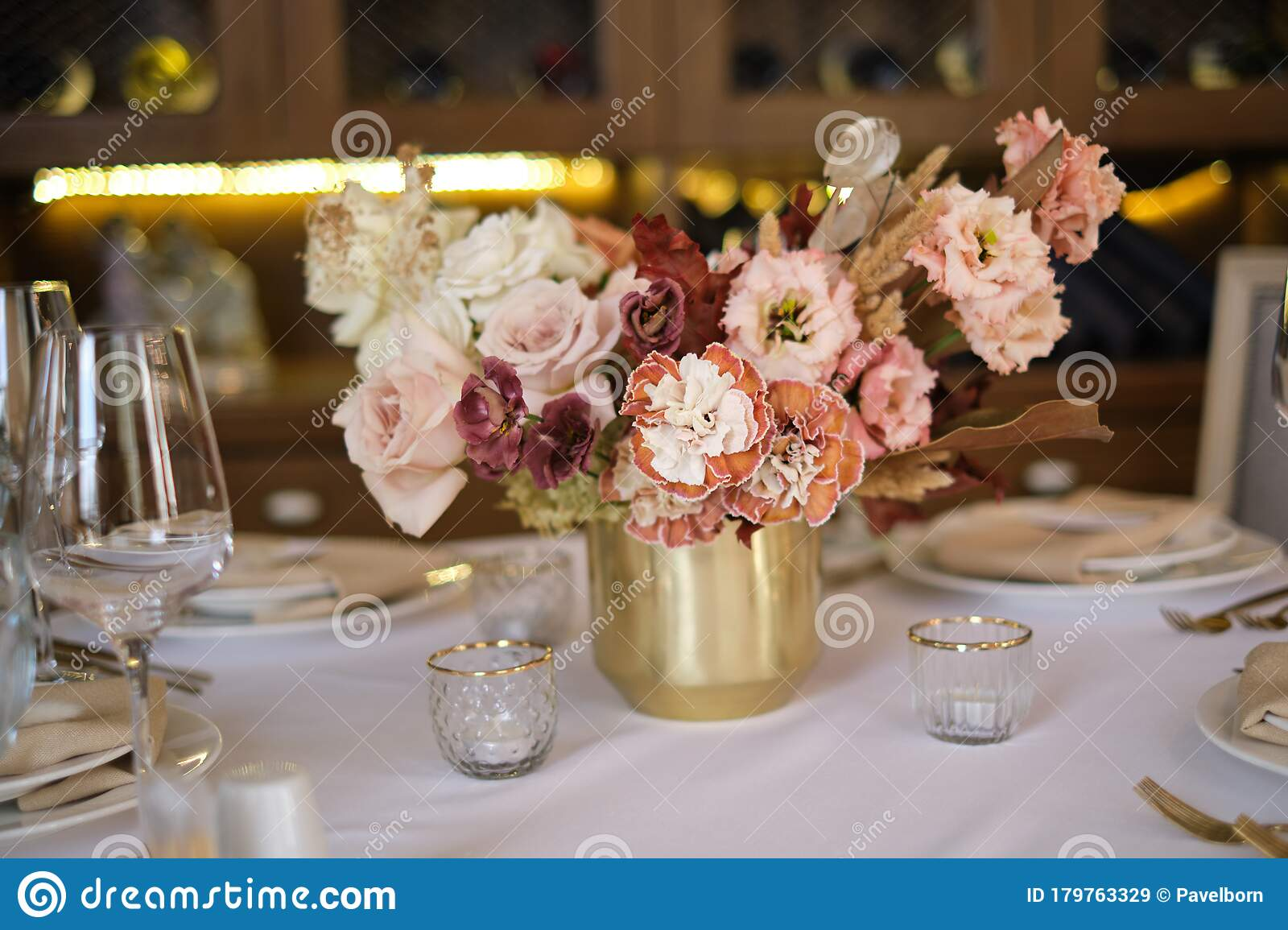 Luxury Cozy Autumn Wedding Table Decoration In The Restaurant Fresh And Dried Flowers Roses Carnations Beautiful Table Setting Stock Image Image Of Beautiful Plate 179763329