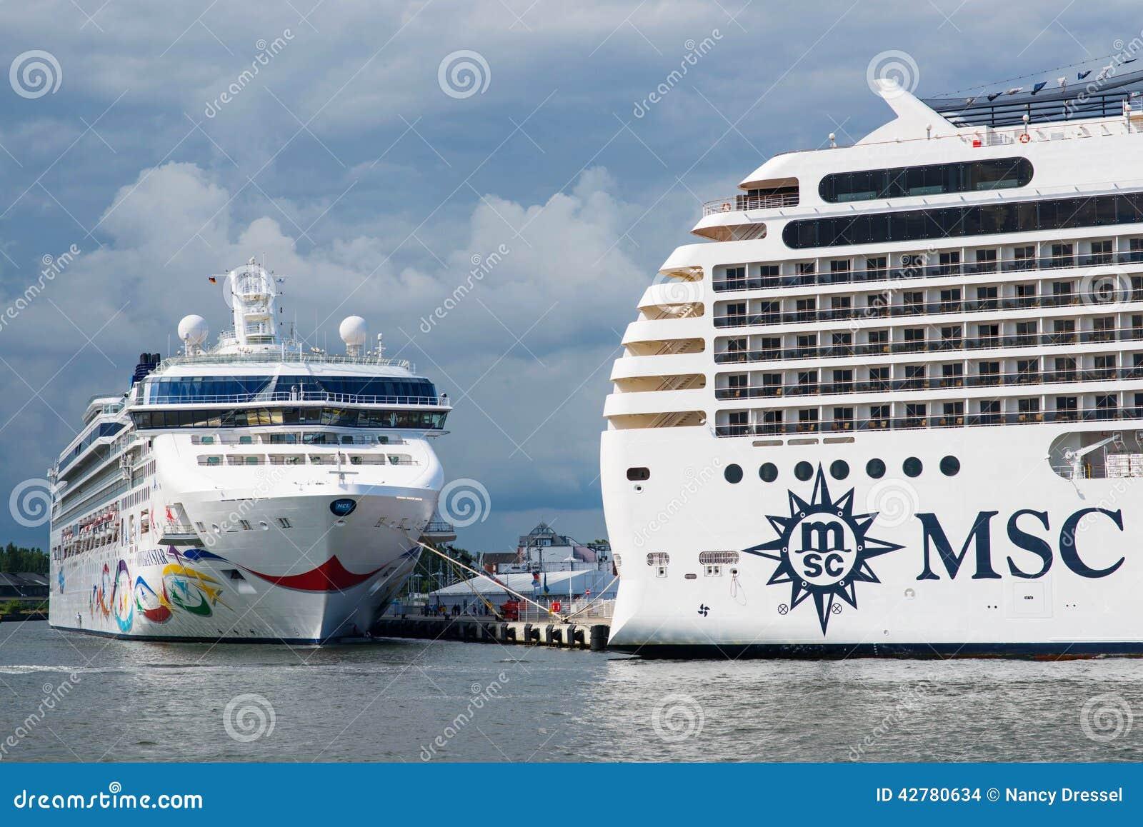 Luxury cruise ships MSC Poesia and Norwegian Star