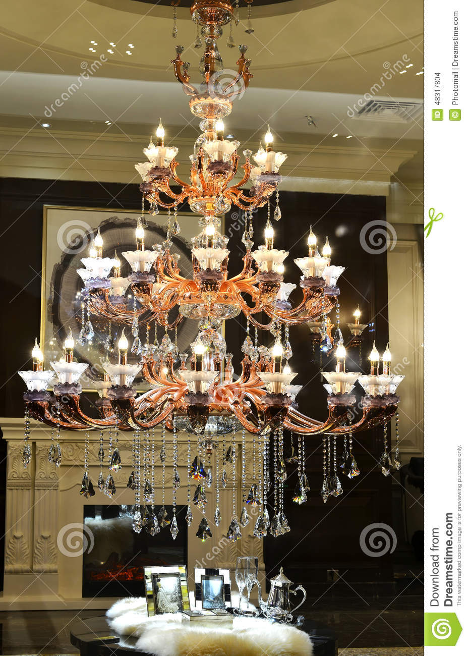 Luxury crystal chandelier in a the hall stock photo image of royalty free stock photo arubaitofo Gallery