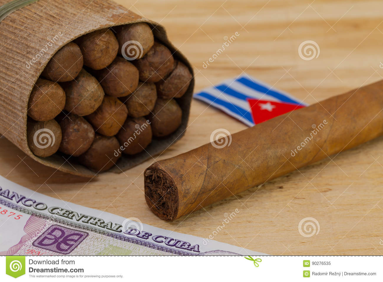 Luxury Cuban Cigars And Money On The Wooden Desk Stock Image - Image