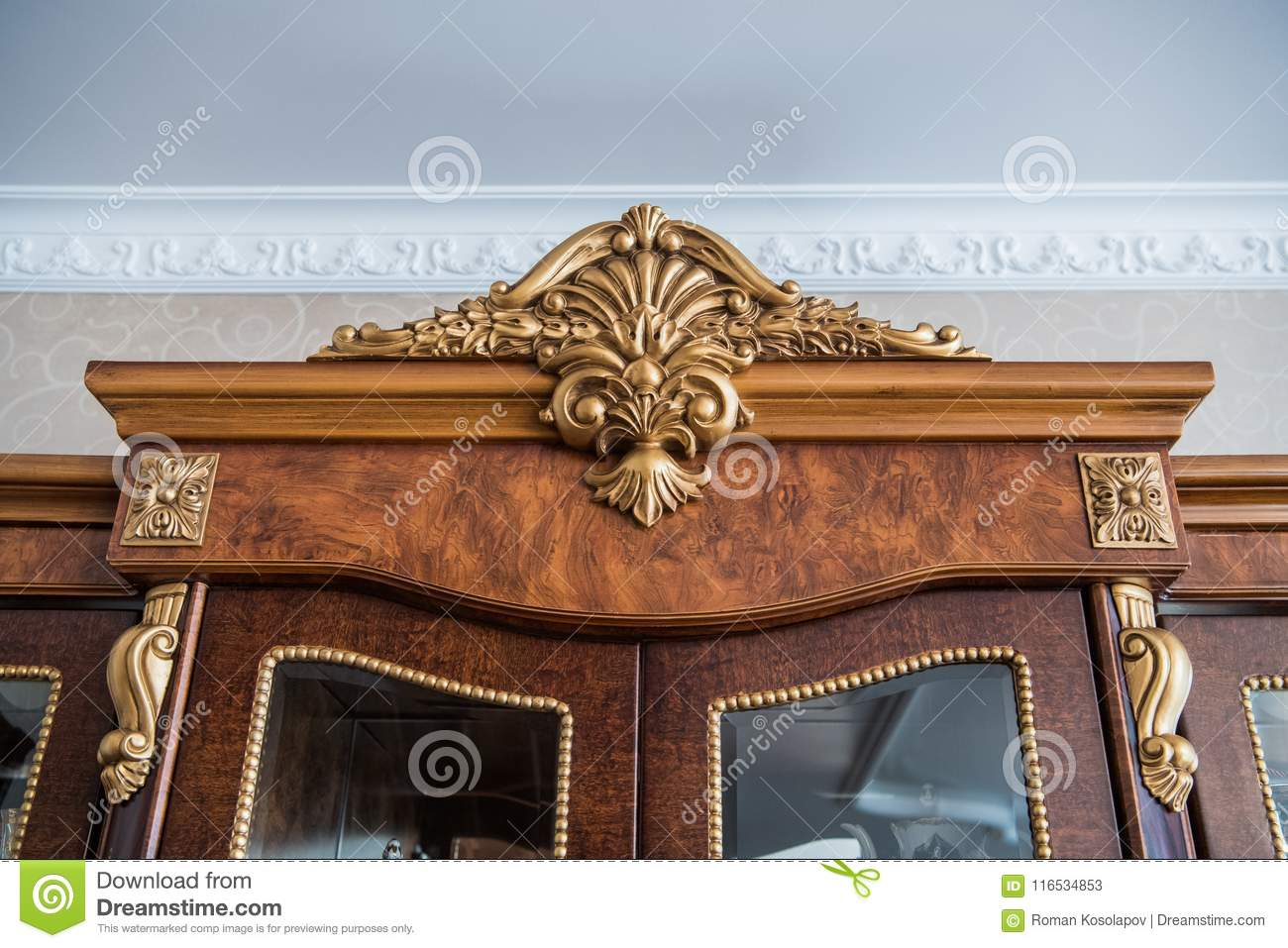Download Luxury Cupboard With Stucco Mouldings. Vintage Woodworking And  Finishing On Antique Furniture. Stock - Luxury Cupboard With Stucco Mouldings. Vintage Woodworking And