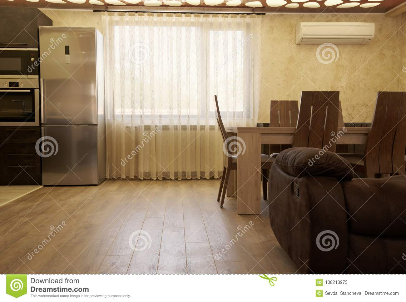 Luxury Curtains On The Window Modern Living Room With A