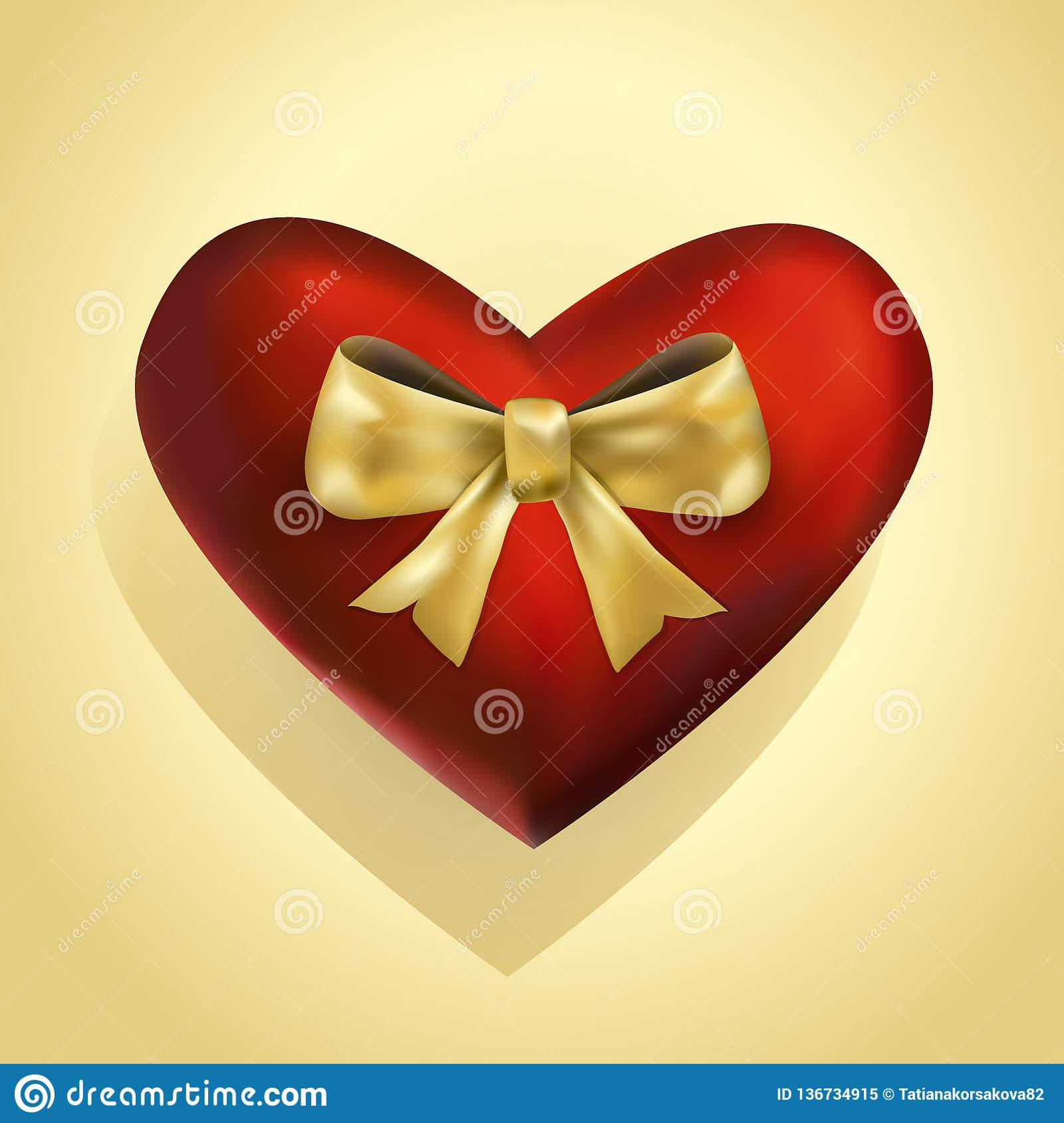 Luxury 3d heart with golden bowed ribbon