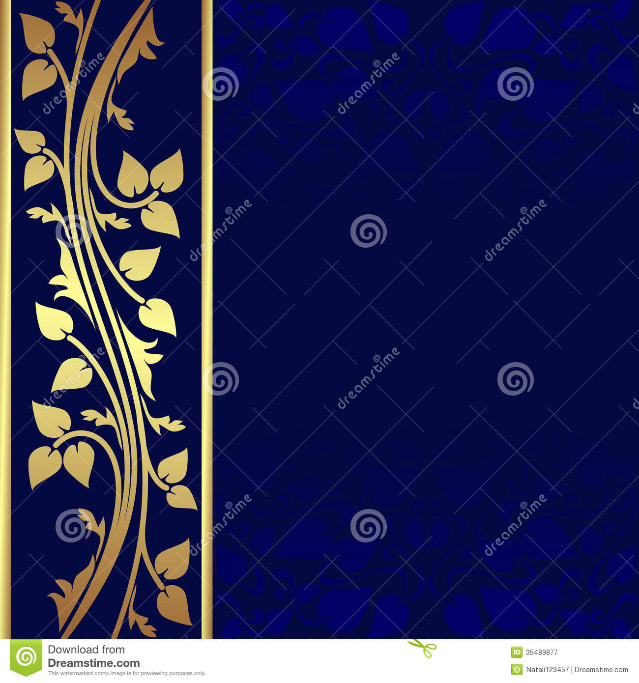 Navy Blue Background With Golden Royal Border Stock Vector