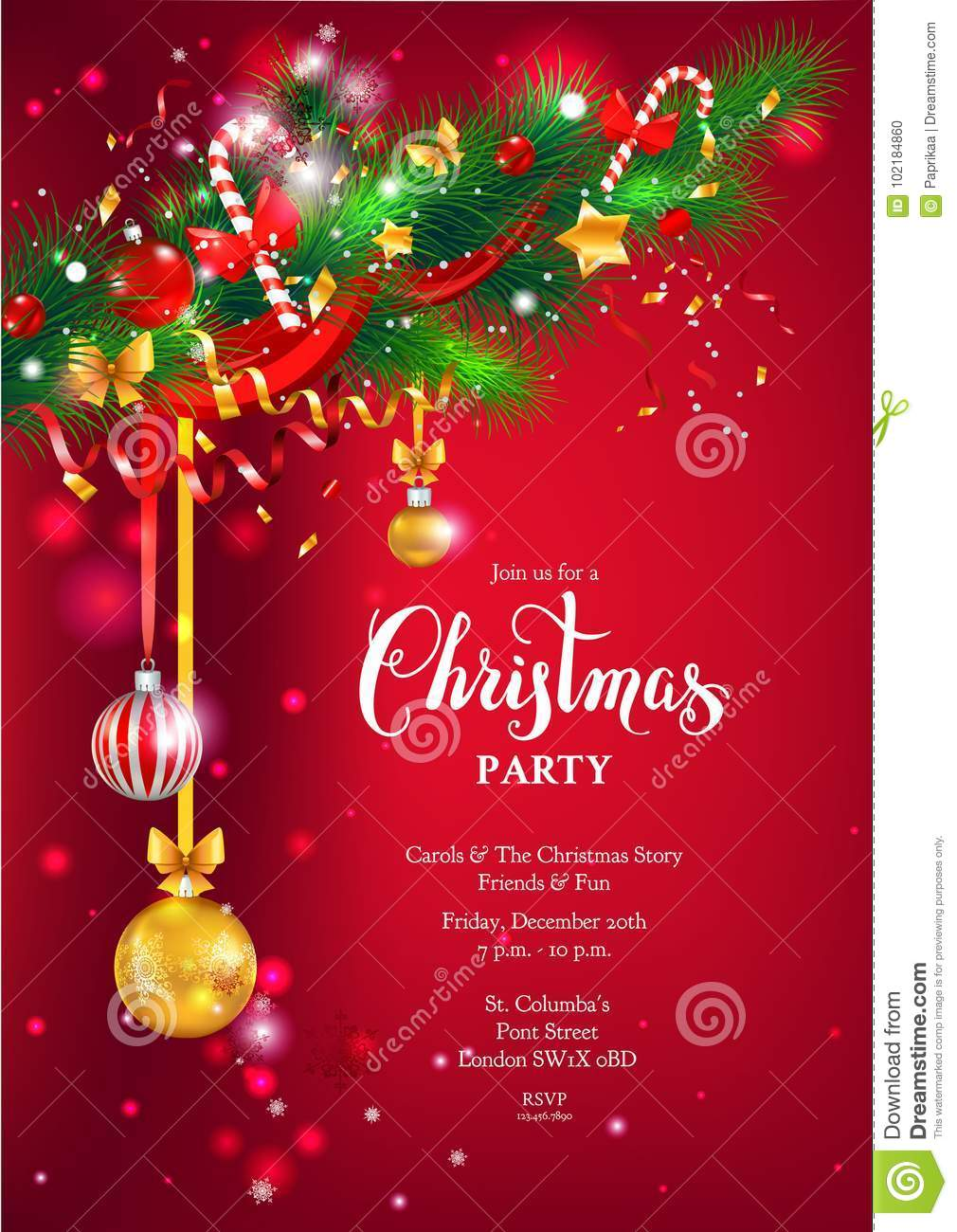 Red happy Christmas card stock vector. Illustration of background