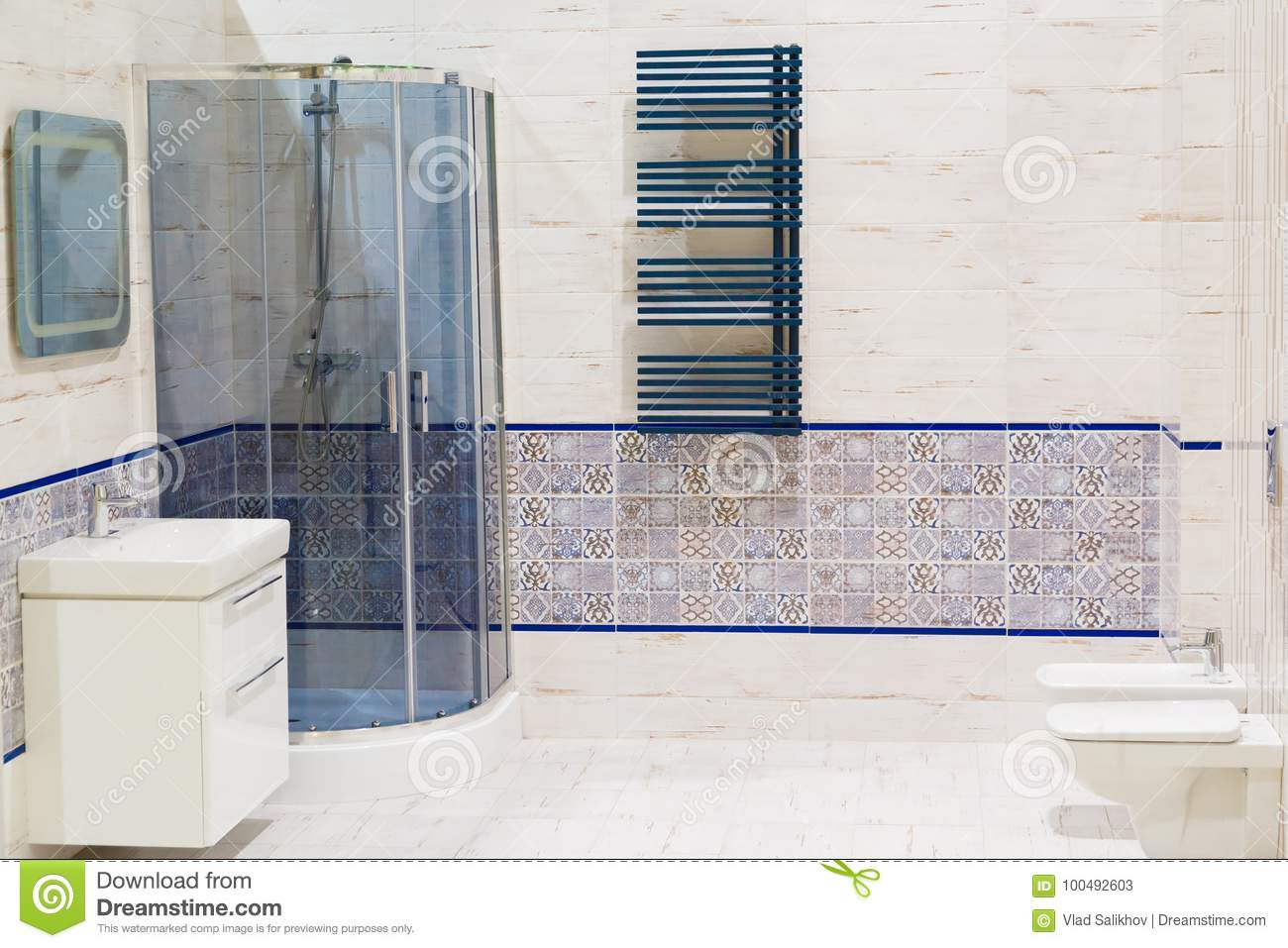 Luxury Design Of Bathroom With Toilet Bowl And Washbasin Stock Image ...