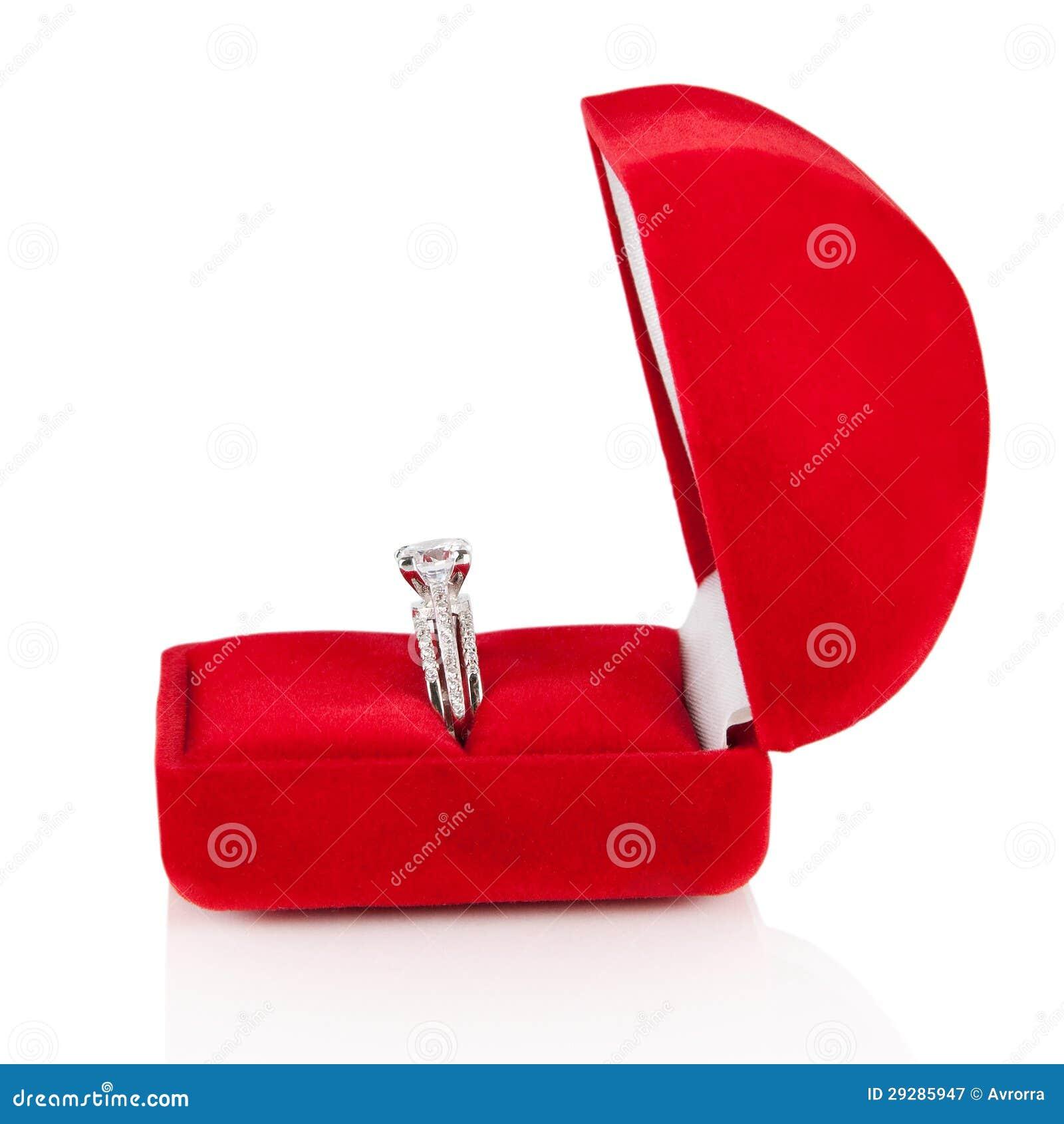 Luxury Diamond Wedding Ring In Red Velvet Silk Box Stock