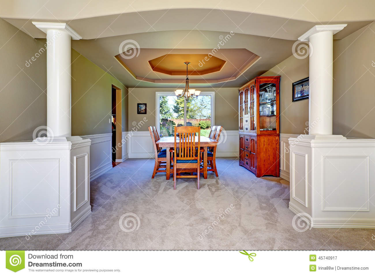 Luxury dining room with white columns royalty free stock photography