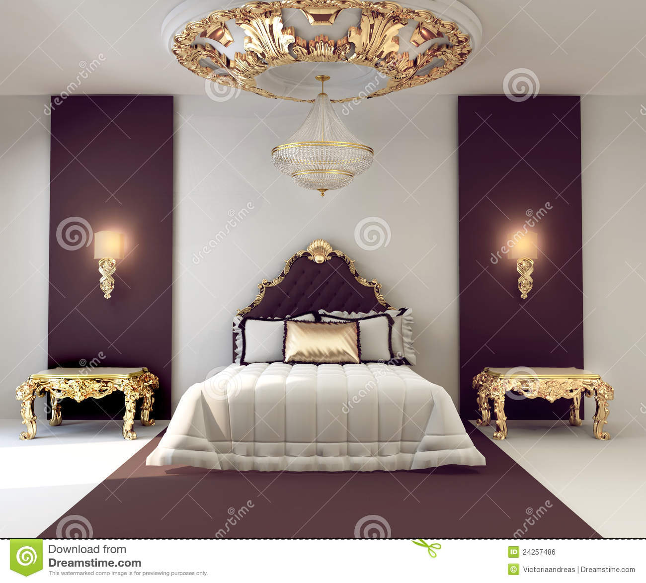 Luxury Double Bedroom With Golden Furniture Royalty Free