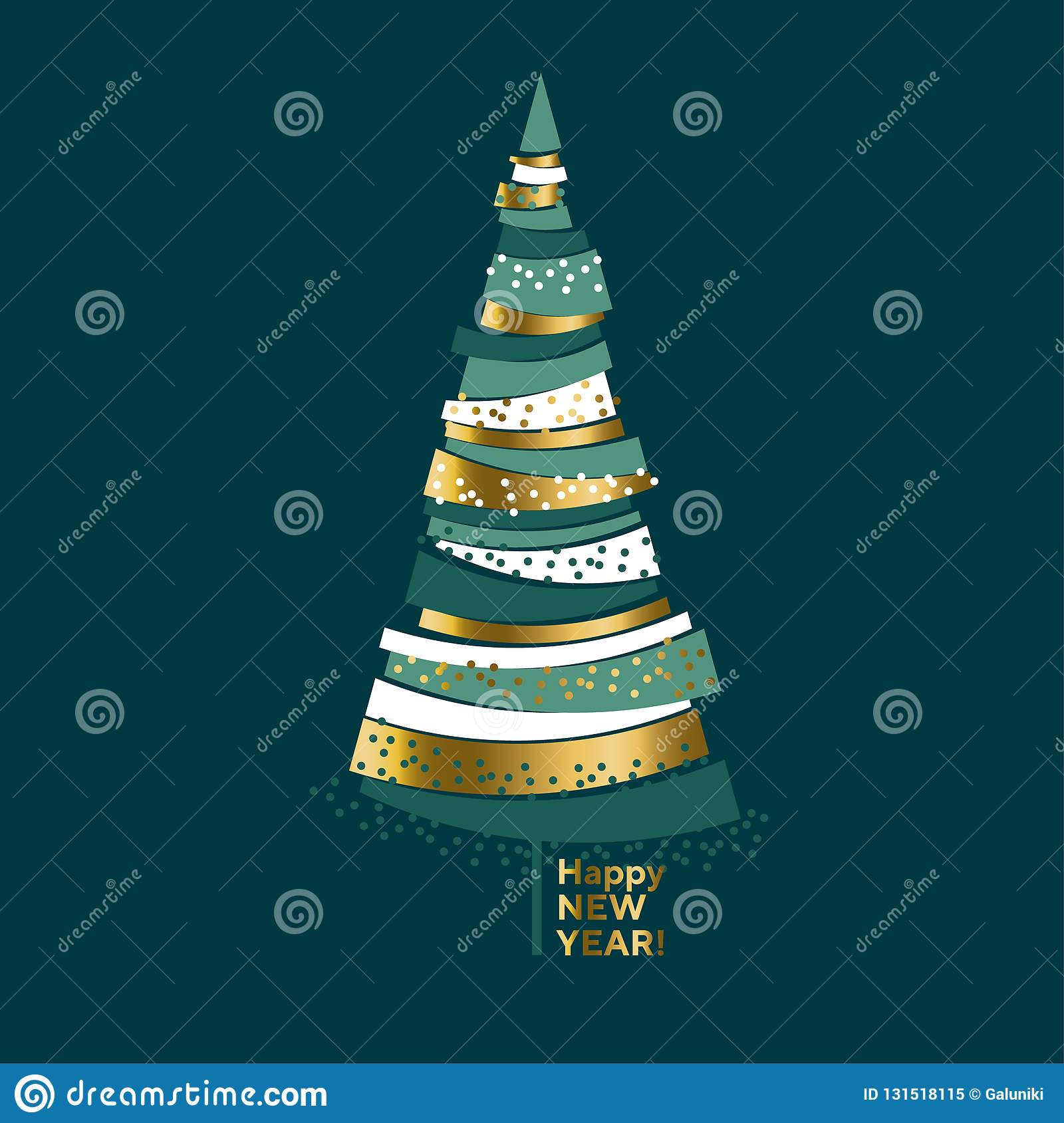 Luxury elegant gold and green Christmas tree.