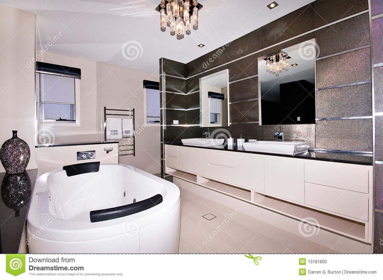 Luxury Ensuite stock photo. Image of twin, home, bedroom ...