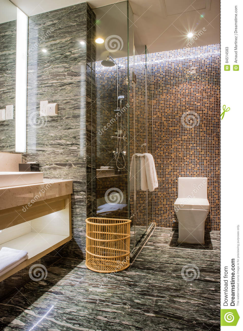 5 star bathroom designs - Luxury Ensuite 5 Star Bathroom In Bedroom Editorial Stock Photo