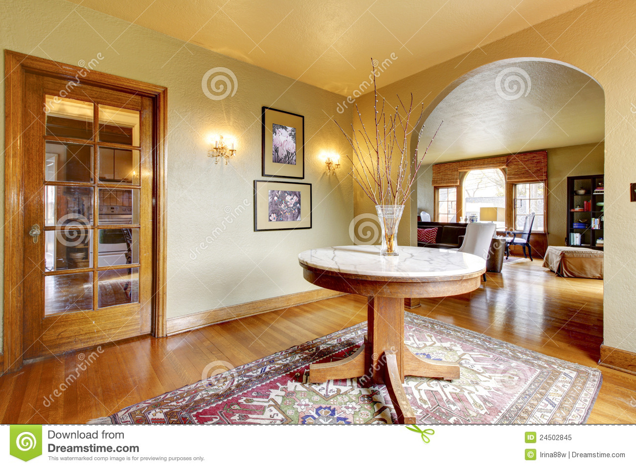 Luxury Entrance Home Interior With Round Table Stock