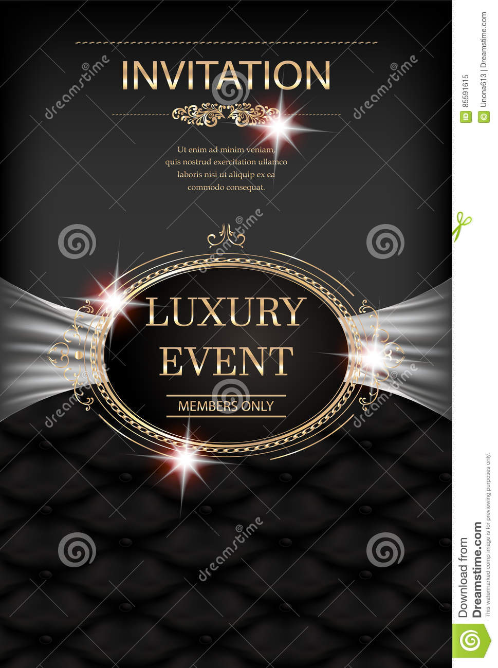 luxury event invitation card with vintage frame leather background