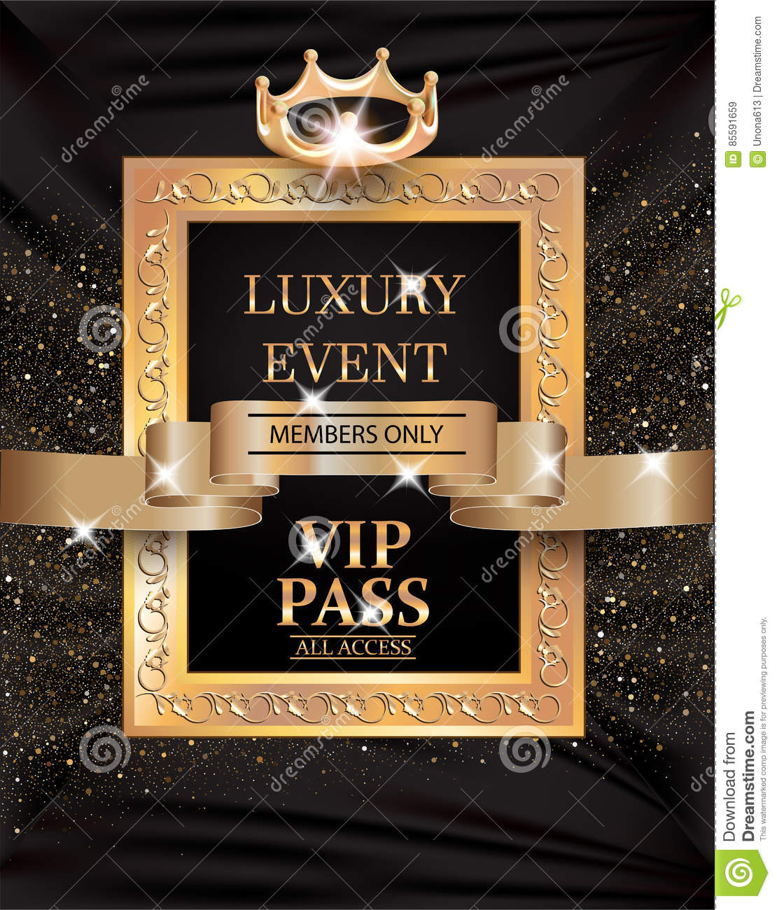 luxury event vip pass with vintage frame gold ribbon and