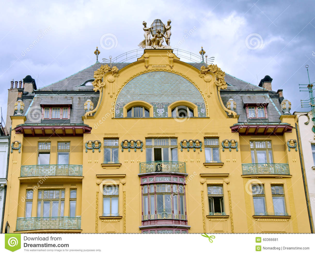 Luxury Example Of Art,nouveau Architecture In Prague Stock