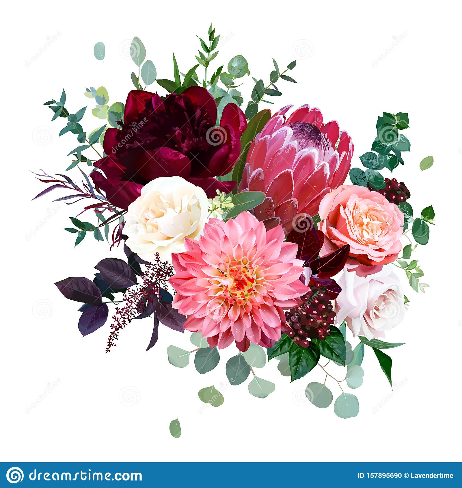 Luxury Fall Flowers Vector Bouquet Stock Vector Illustration Of Green Luxury 157895690