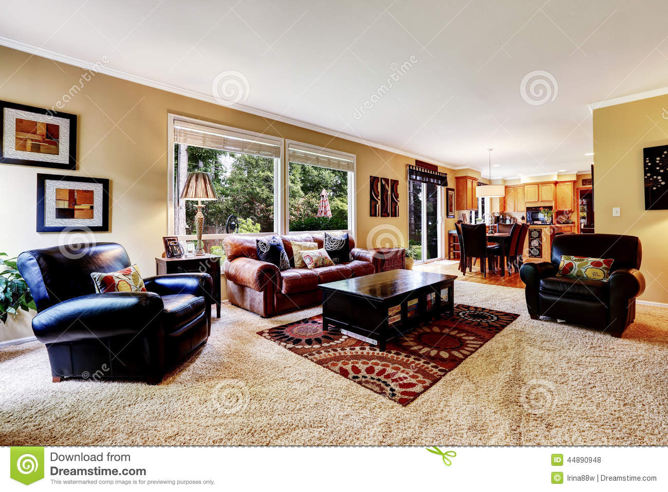 Luxury Family Room With Comfortable Leather Couch Stock Photo