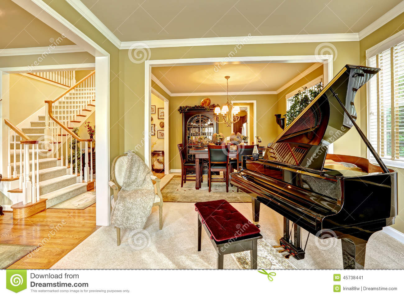 Luxury Family Room With Grand Piano Stock Photo Image