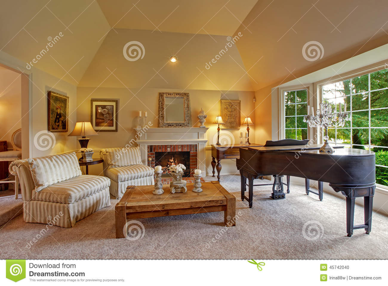 Luxury Family Room With Grand Piano And Fireplace Stock