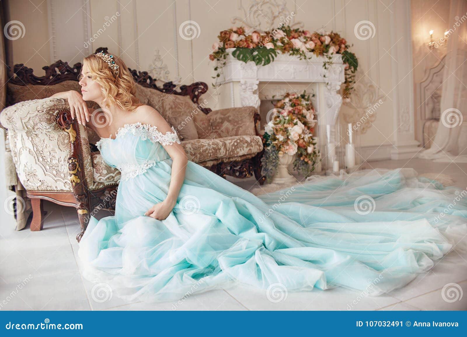Luxury Fashion Pregnant Blond Woman In A Wedding Dress. Wedding ...