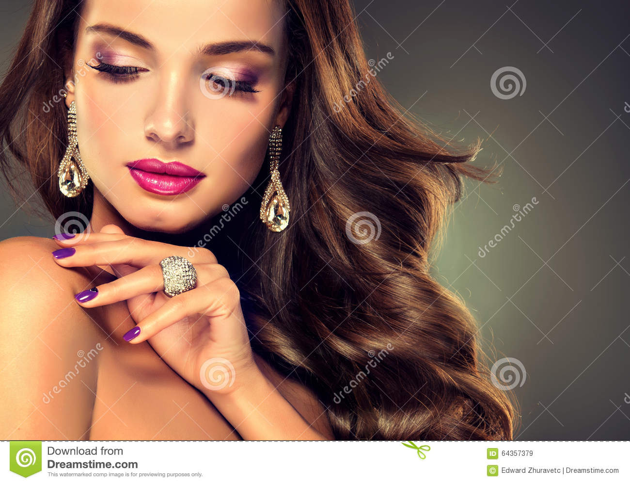Luxury Fashion Style Brunette With Long Curled Hair Stock Photo Image 64357379