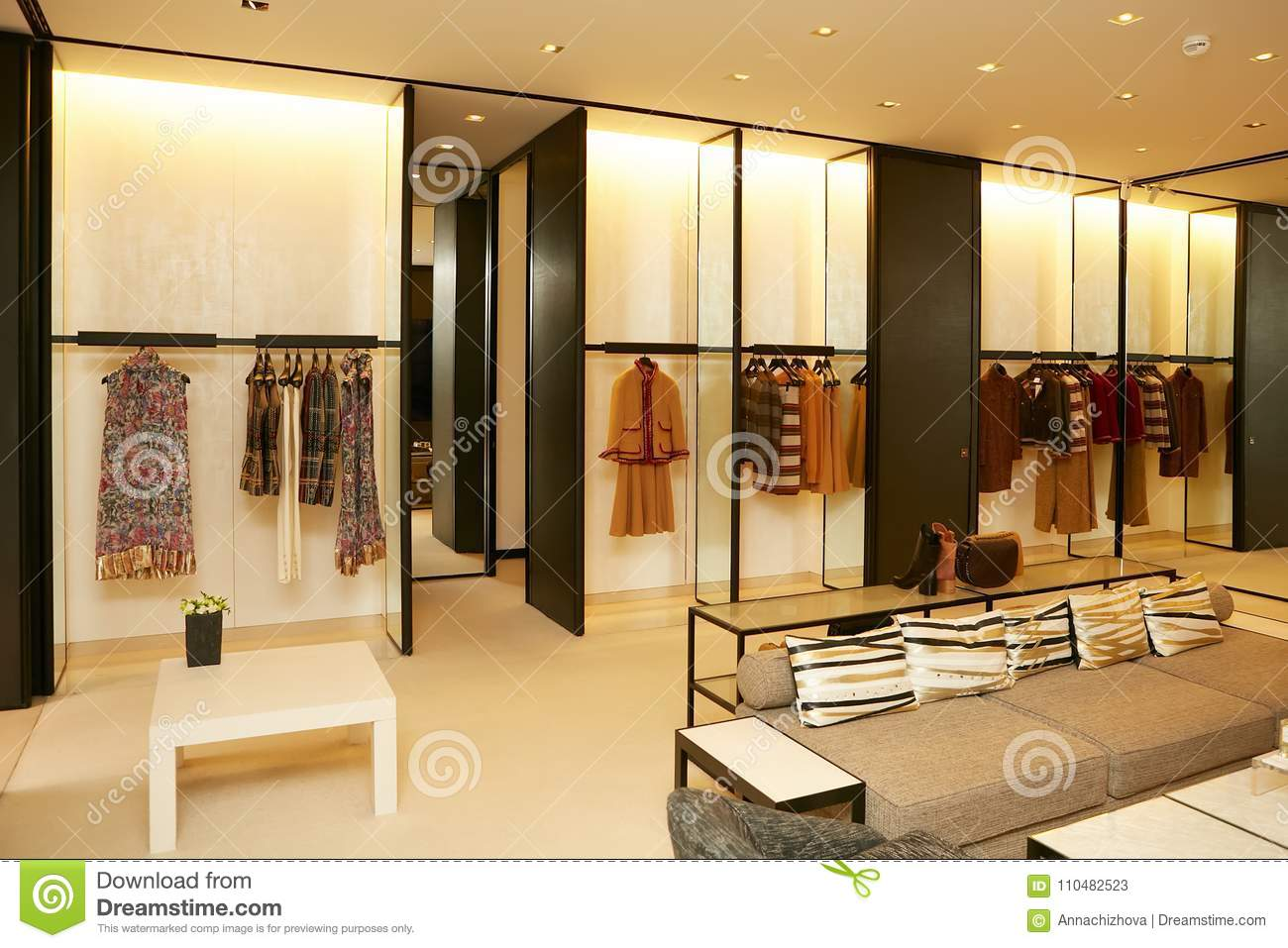 a2fd25e6ed7b Luxury And Fashionable European Different Clothes Shop Stock Image ...