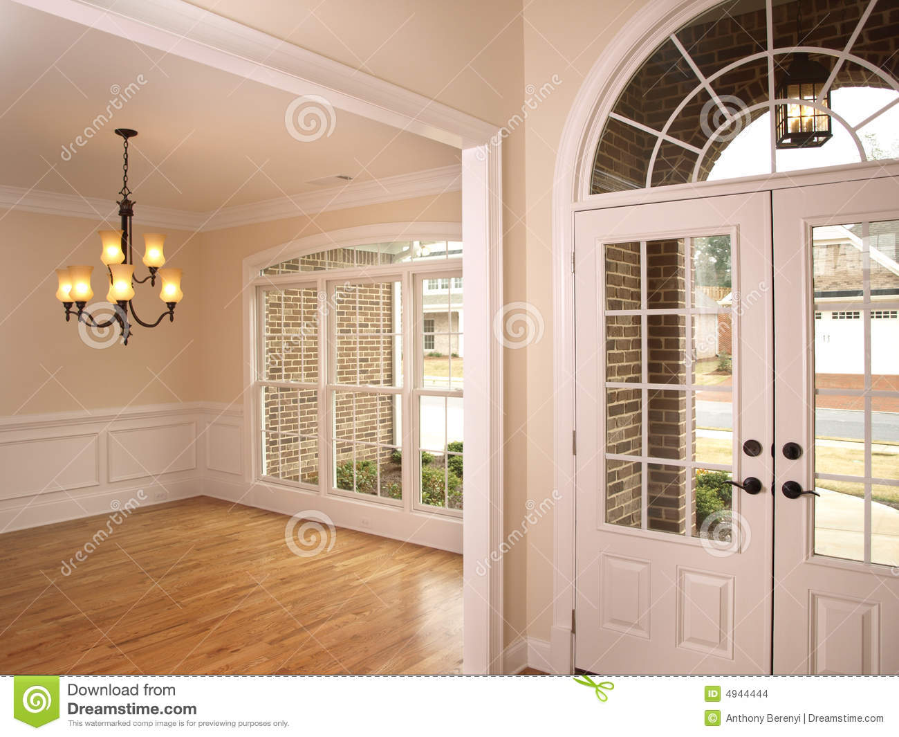 Luxury foyer with arched glass door 2 stock images   image: 4944444