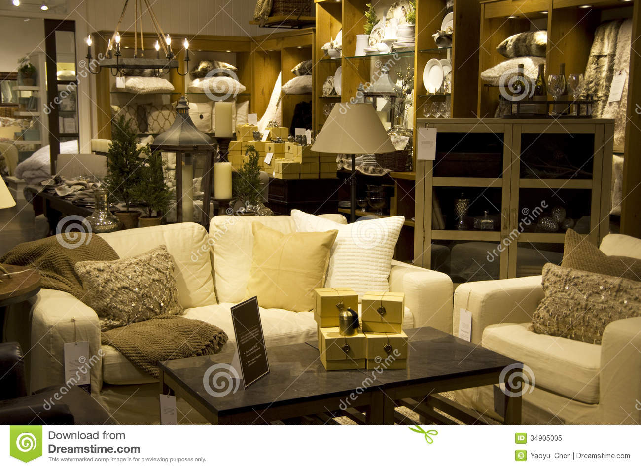 Luxury furniture home decor store stock image image for Home decor furniture