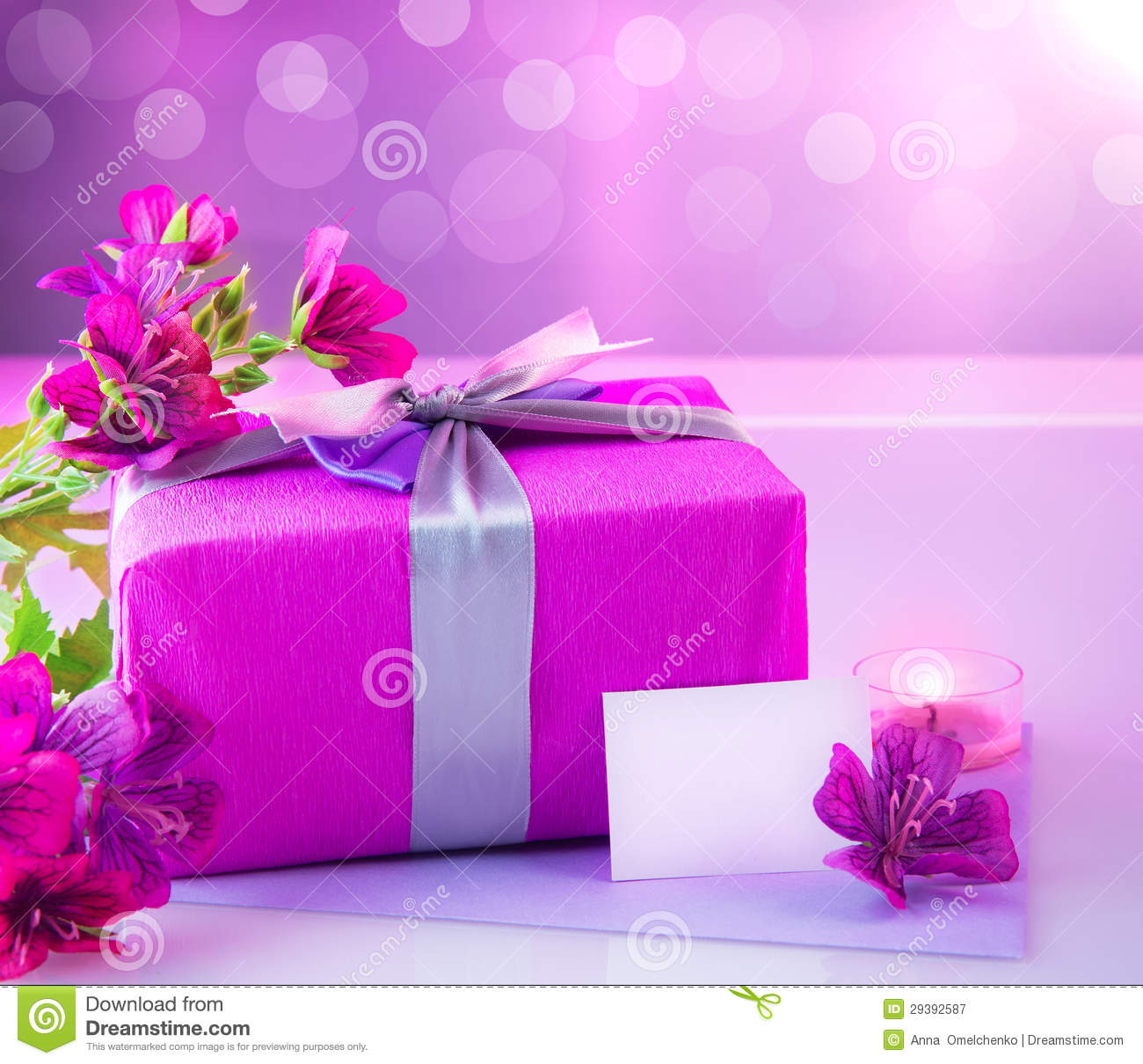 Luxury Gift With Pink Flowers Stock Image Image Of Decor
