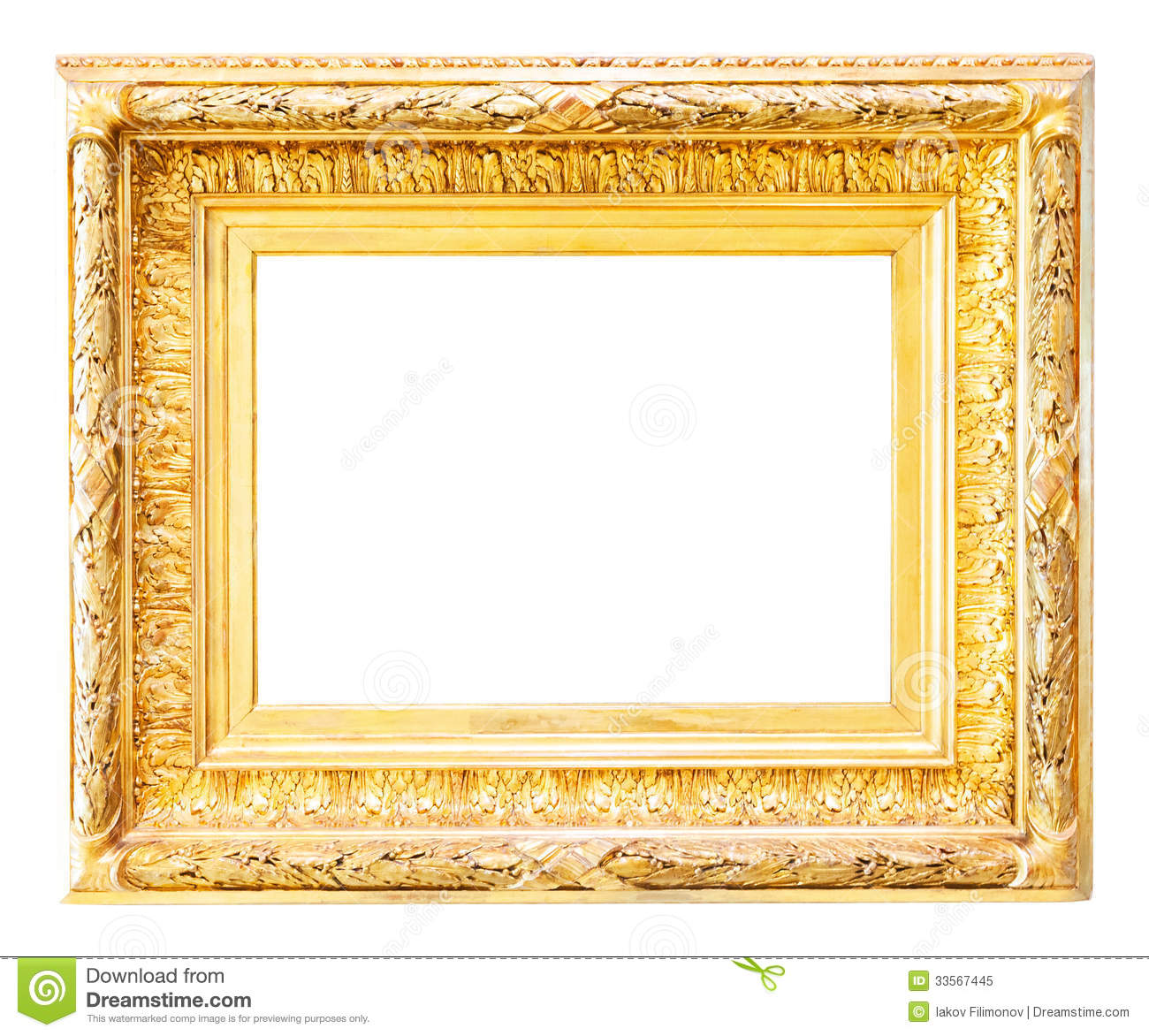 luxury gilded frame over white royalty free stock photo