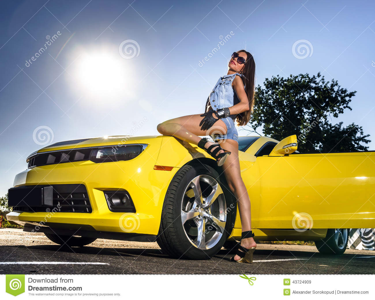luxury glamour girl and yellow sport car stock image image of body glamour 43724909. Black Bedroom Furniture Sets. Home Design Ideas