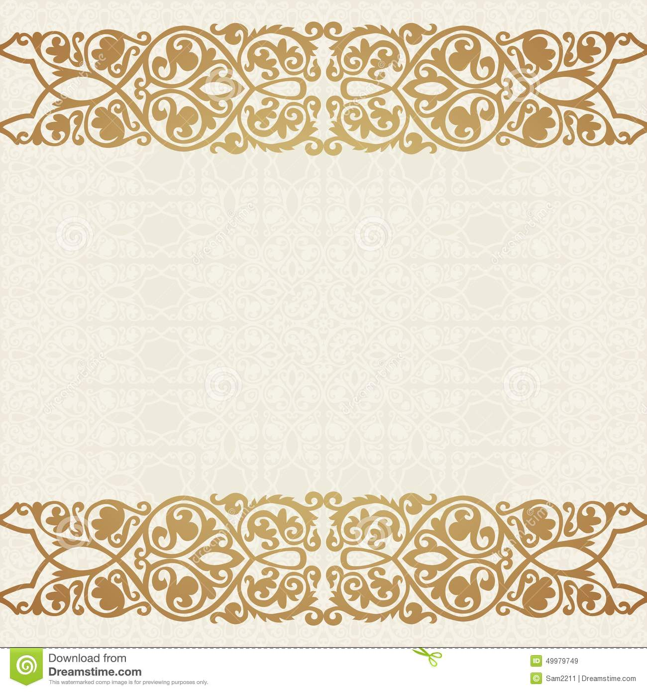 Luxury Gold Border On Seamless Background Stock Vector