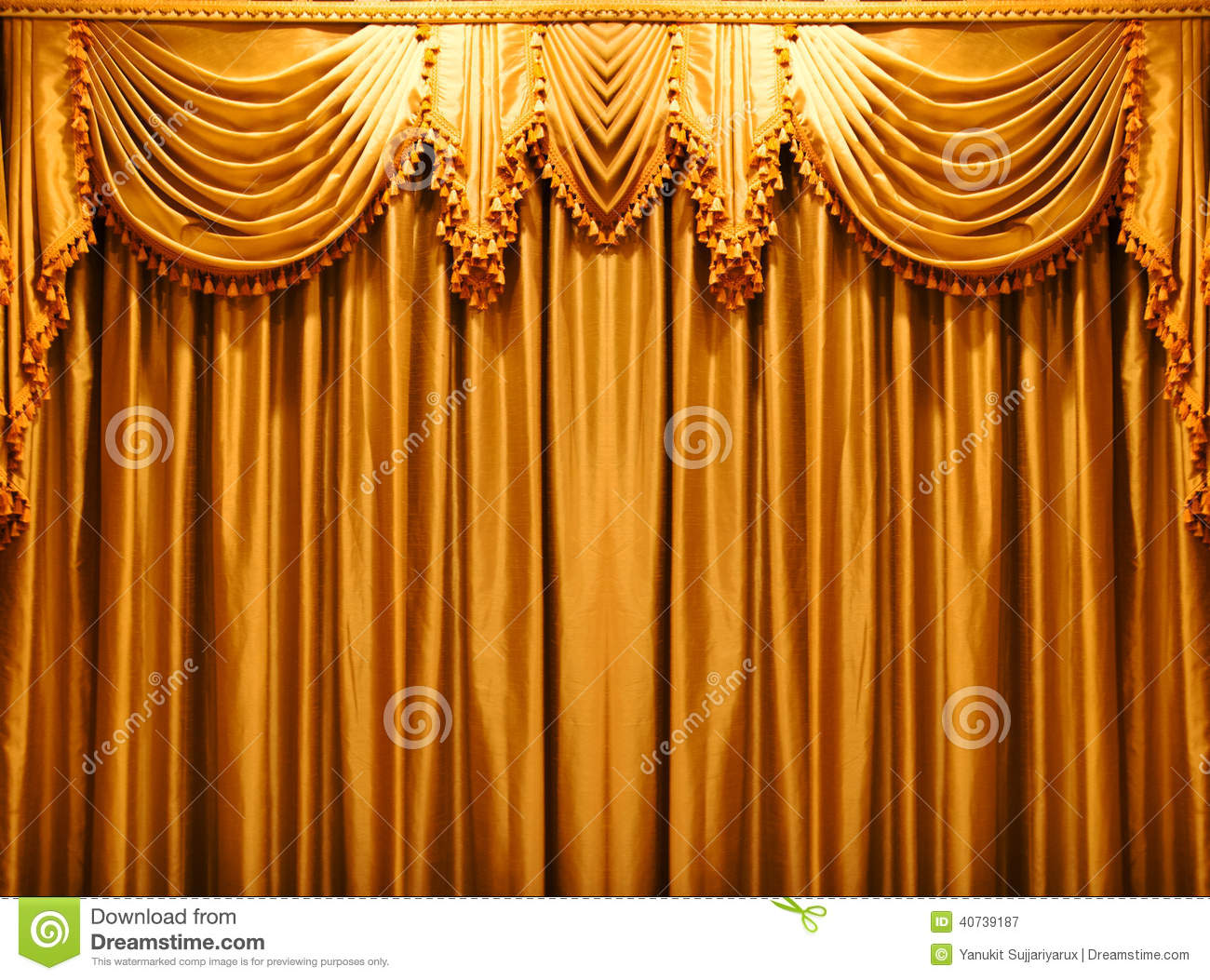Gold stage curtains - Luxury Gold Fabric Curtains Backdrop On The Theate Stock