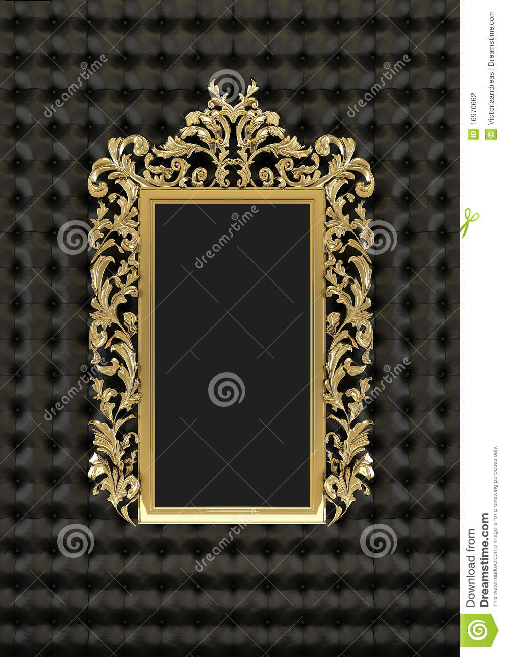Luxury Gold Frame On The Black Background Stock