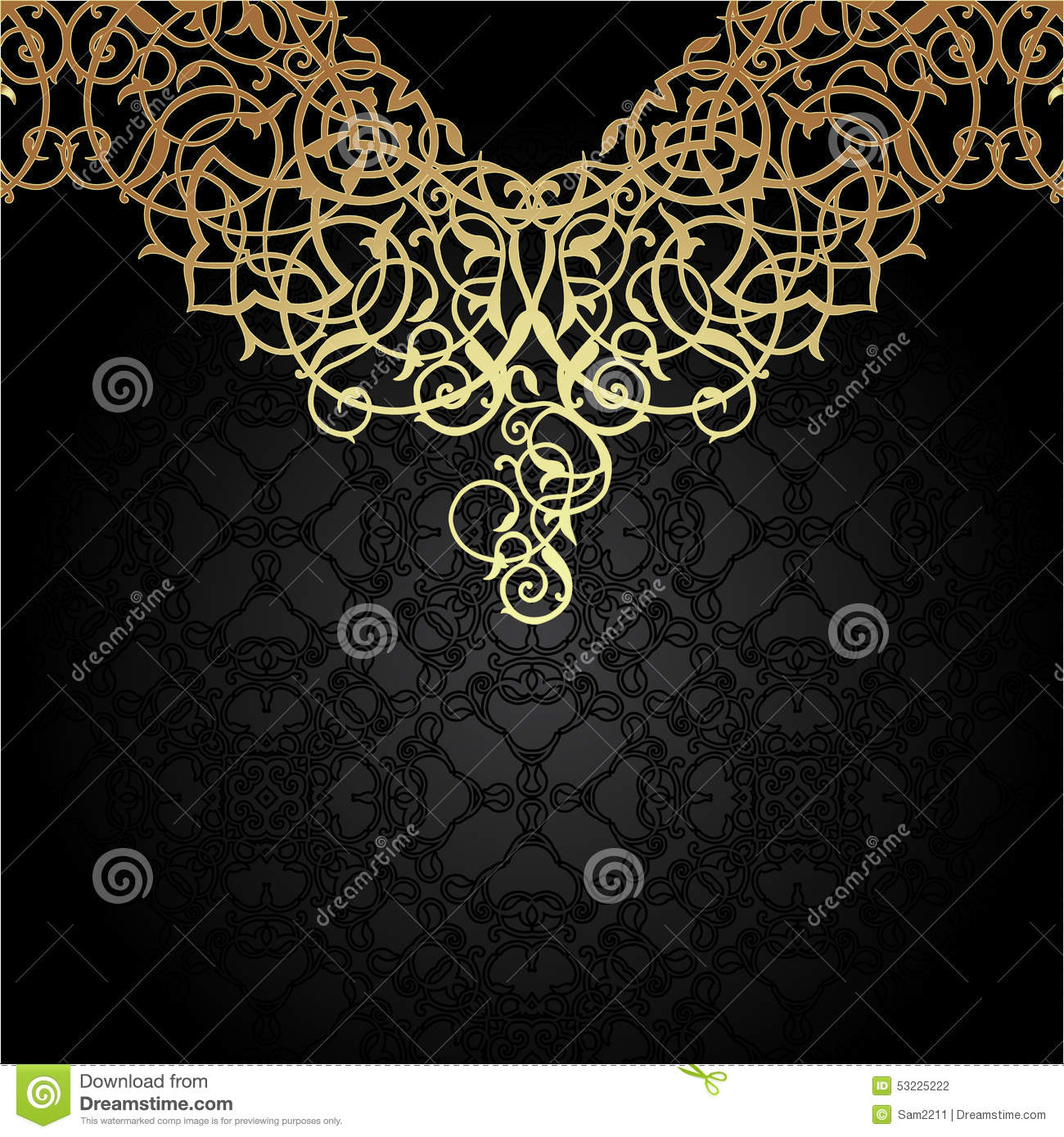 luxury gold ornament with oriental motifs stock vector image 53225222. Black Bedroom Furniture Sets. Home Design Ideas