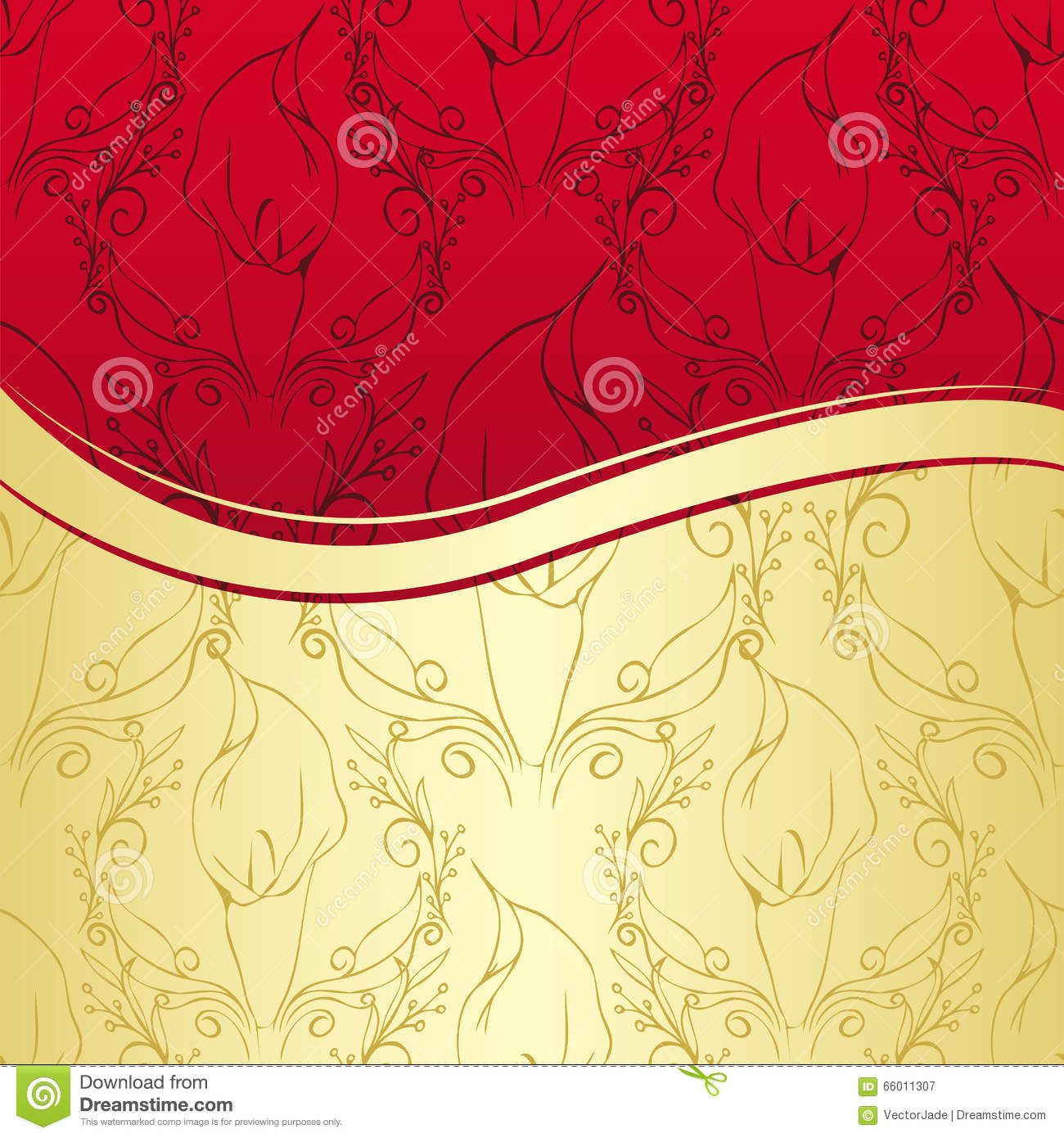 luxury gold and red floral background stock vector