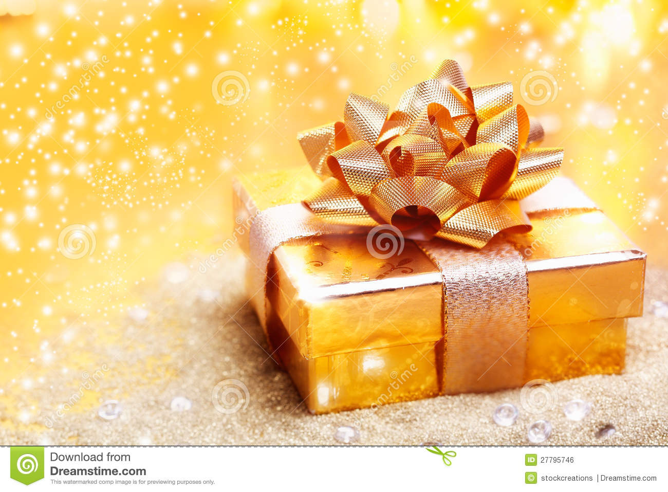 Luxury Golden Gift Stock Photo Image Of Celebration