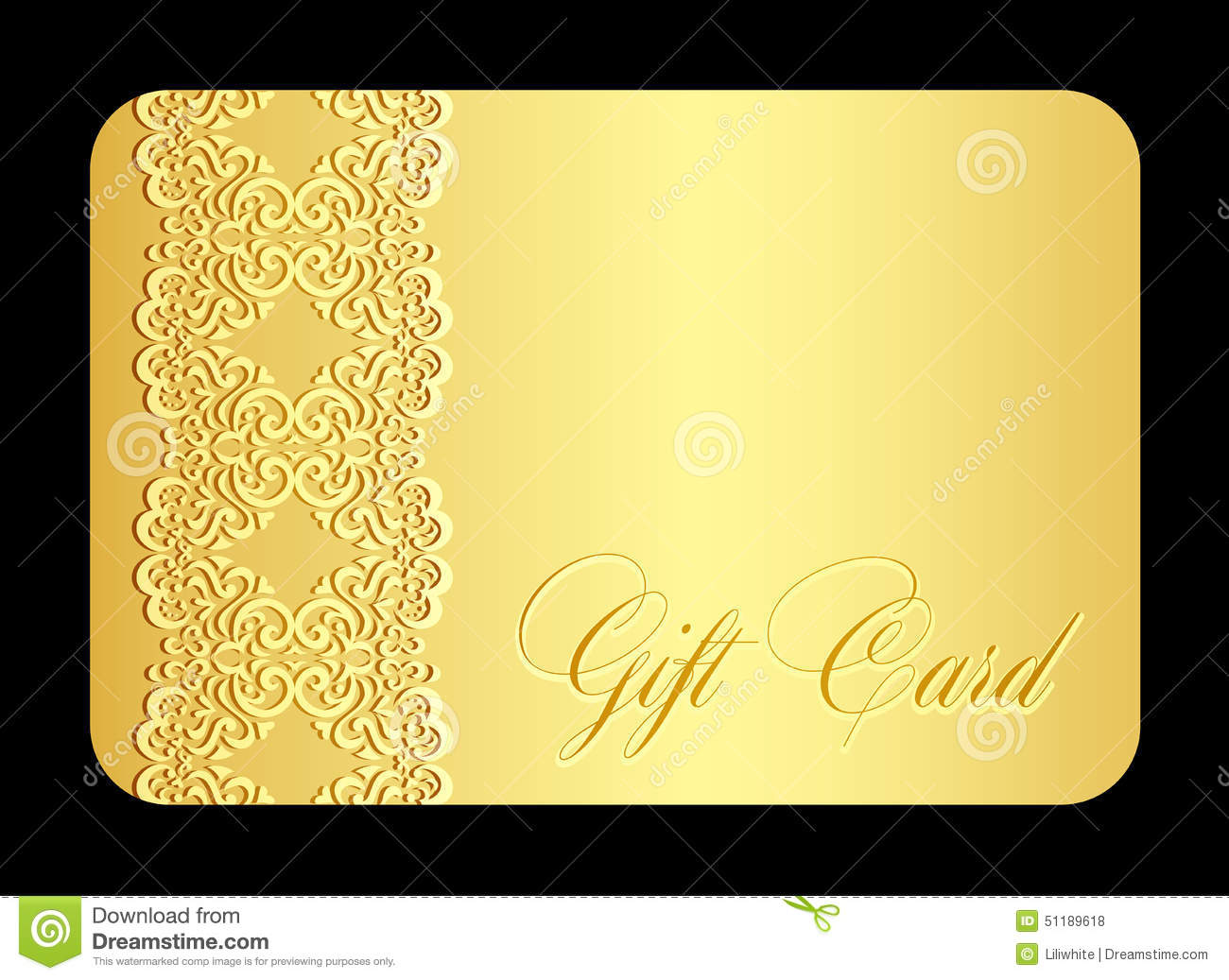 Luxury Golden Gift Card With Imitation Of Lace Stock Photo ...