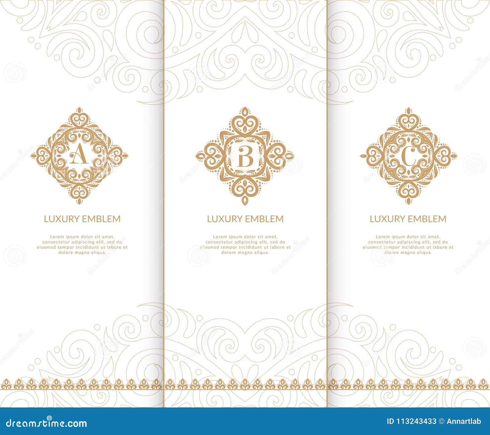 luxury golden monograms vintage elements stock vector