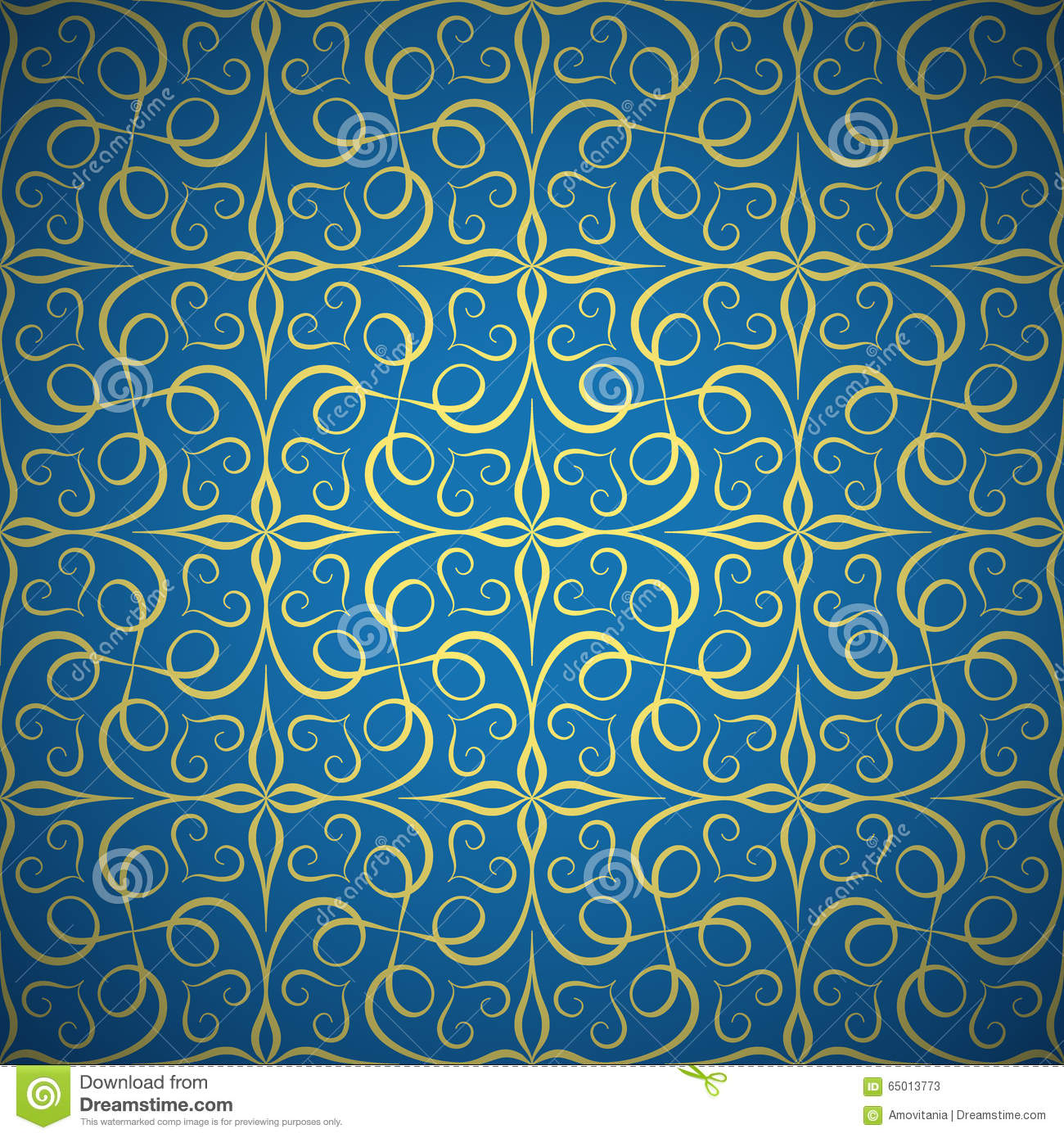 Luxury Golden Seamless Pattern On Blue Background Stock ...